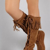 Lace Up Fringe Boots - Tan