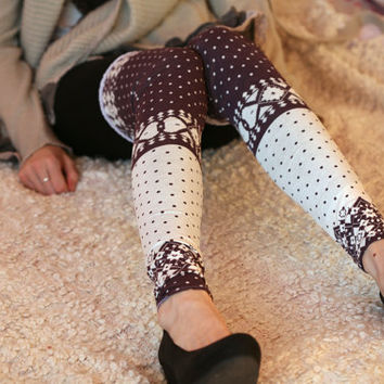 Dark purple and white polka dots leg warmers by DGstyle on Etsy