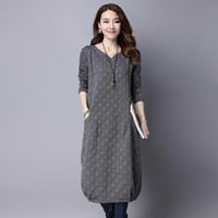Oversized 2017 Autumn Winter Plus Size 3XL Cotton  Dress come in blue gray black or red