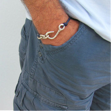 Nautical Bracelet Men Sailor Fish Hook Blue