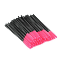 50 pcs Knife Shaped Hair Disposal Fiber Eyelash Brushes Pink + Black