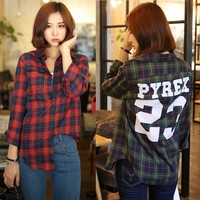 Women Vintage Style Slim Long Sleeve Plain Checks Shirt Tops Blouse Letters Print