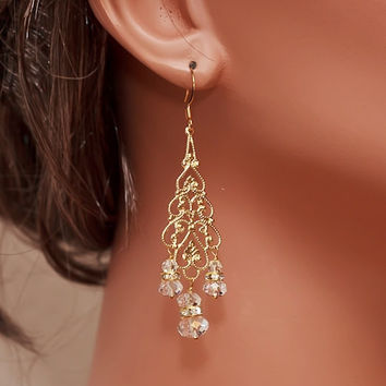 Bridal Gold Chandelier Earrings with Swarovski Crystals and Rhinestones