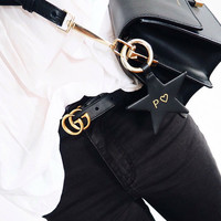 GUCCI Tide brand men and women classic double G wild smooth buckle belt