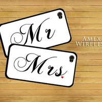 Mr and Mrs Set of 2 Love Couple Marriage Snap-On Covers w/ Black Hard Carrying Cases for iPhone 4/4S:Amazon:Cell Phones & Accessories