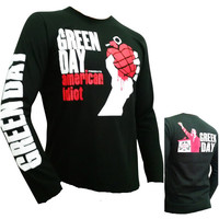Retro Green Day American Idiot long sleeve T-shirt Rock S/M/L/XL black JZ-003