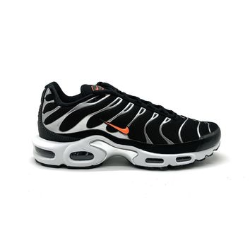 Nike Men's Air Max Plus Black Dark Grey Hyper Crimson Running Shoes