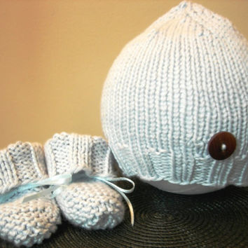 Heirloom Baby Hat and Booties Hand Knit Blue by WindyCityKnits