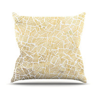 "Pom Graphic Design ""Inca Gold Trail"" Yellow Brown Outdoor Throw Pillow"