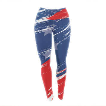 "NL designs ""Red White Blue"" Red White Yoga Leggings"
