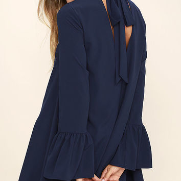 Mod Squad Navy Blue Shift Dress
