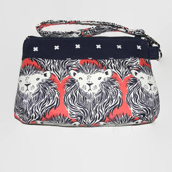Curvy Clutch Wristlet Cotton + Steel Lions with Navy Blue XOXO Lining Great Bridesmaid gift Handmade! Coral Cotton & Steel