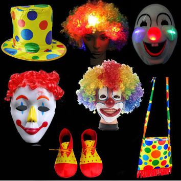 DCCKL72 Xmas Fun Clown Hat Hair Wig Mask Shoes Bag Wear Performance Cosplay Party Props Costumes Supplies New Year Christmas Decor