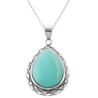 """Sterling Silver Simulated Turquoise Teardrop Pendant Necklace , 18"""""""