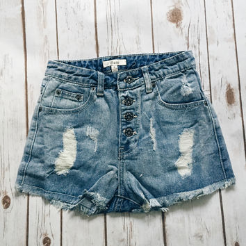 Light Wash Denim High Rise Shorts