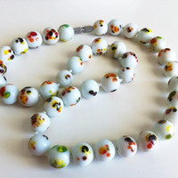 Vintage Ceramic Beaded Necklace by EridaneasBoutique on Etsy