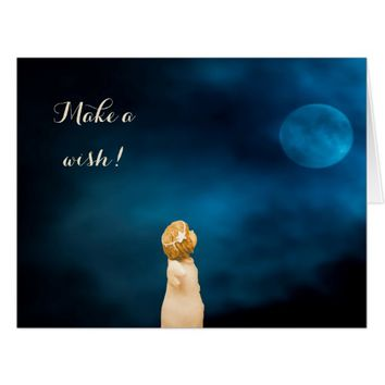 Make a wish with a girl angel and full moon card