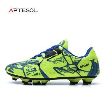 APTESOL Brand New Men's Outdoor Cleats Rubber Sole Soccer Shoes Men Boys Kids FG Soccer Boots Children Training Football Boots