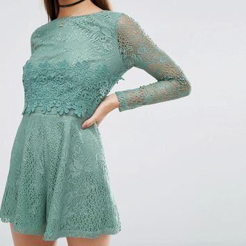 ASOS Lace Crochet Bodice Playsuit at asos.com