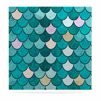 """Famenxt """"Mermaid Fish Scales"""" Teal Nautical Illustration Luxe Square Panel"""