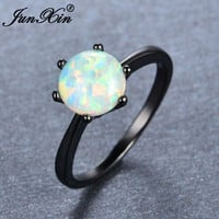 Hot Sale 6 Claws Rainbow Fire Opal Rings For Women Men Black Gold Filled Wedding Party Engagement Simple Finger Ring Anillos