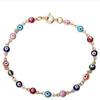ON SALE - Teeny Tiny 'Evil Eye' Multi-color Bracelet