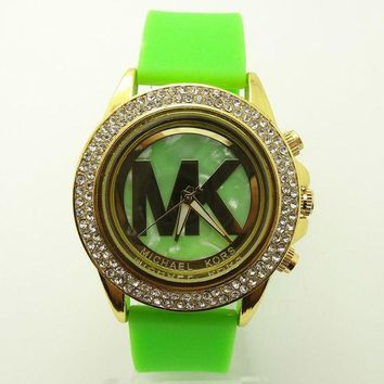 ONETOW MK Michael Kors men and women new stylish fashion candy strap F-SBHY-WSL Green Watchband + Hollow Dila + Gold Case