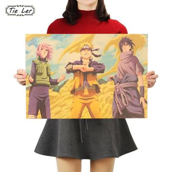 TIE LER Japanese Cartoon Comic Naruto Kraft Paper Poster Bar Cafe Decorative Painting Room Wall Stickers