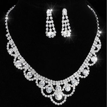 Earring Wedding Bridal Bridesmaid Jewelry Sets 14F2AF047 Celebrity Inspired Crystal Tennis Statement Necklace Set