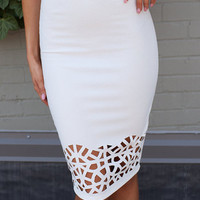 Laser Cut Detail Pencil Skirt White
