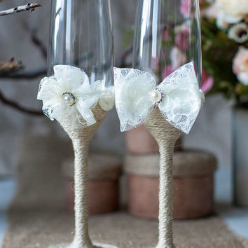 IVORY lace Rustic Wedding glasses  with rope, lace, pearl handmade flower / burlap, vintage inspiration