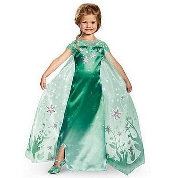 CNJiaYun Girls Dresses Snow Queen Princess Dress For Girls Cartoon Cosplay Elsa Anna Dresses Costume Clothes Kids Clothing