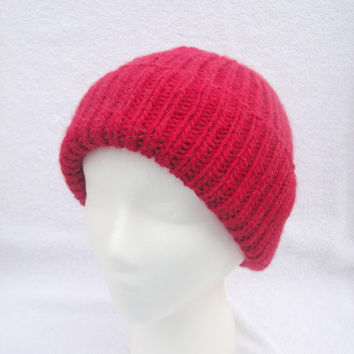 Mens Red Hat, Hand Knit Wool/Llama, Ribbed Beanie Watch Cap, Warm, Nautical Sailor Jacques Cousteau