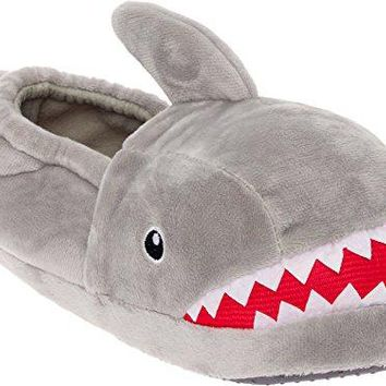 Silver Lilly Shark Plush Slippers  Novelty Animal Slippers wFoam Support by