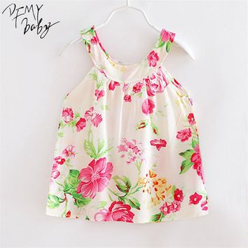 2017 Children Dress Clothing New Summer Princess Fashion Style Girls Colorful Flower  Printed Kids Tutu Dress Sleeveless Clothes
