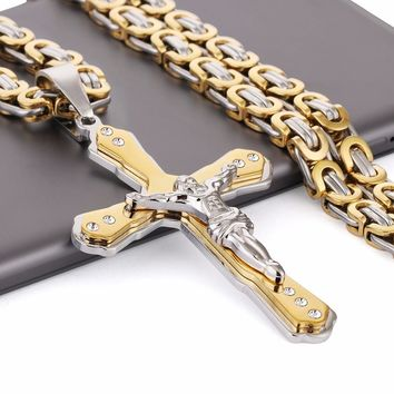 "Christian Jesus Cross Crystal Pendant Necklaces Thick Link Byzantine Chain Stainless Steel Men Jewelry Colar Gift 21.65""  MN79"
