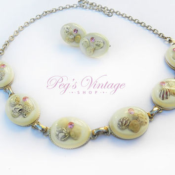 Vintage 1950s Domed Lucite Encased Bead & Rhinestone Necklace And Clip Earrings, Shell Beads, Unique Link Necklace Set