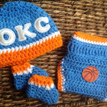 OKC Oklahoma City Thunder Basketball Crochet Baby Gift Set