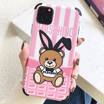 Moschino New fashion letter rabbit bear print couple protective cover phone case