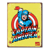 Captain America Out For Justice Retro Vintage Tin Sign