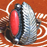 Navajo Red Coral Ring Sterling Silver