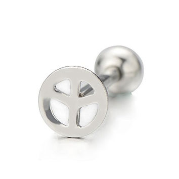 Stainless Steel Anti-war Sign Tongue Rings 16 Gauge Body Piercing Jewelry