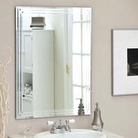 Rectangular 31.5 Inch Bathroom Vanity Wall Mirror With Contemporary Triple-Bevel Design