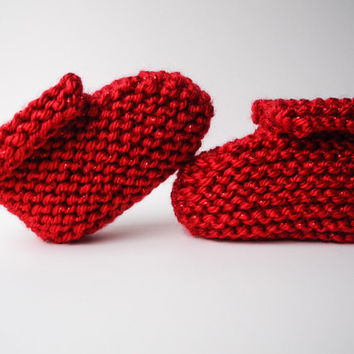 Valentine's Day Knit Baby Booties - Baby Clothes - Baby Girl - Gender Neutral - Red Sparkle