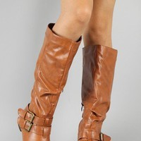Bien-2 Buckle Slouchy Knee High Boot