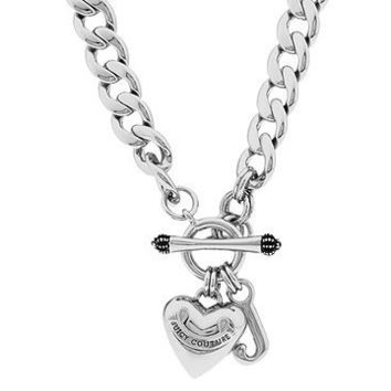 Juicy Couture Silver Starter Charm Necklace w/ Heart