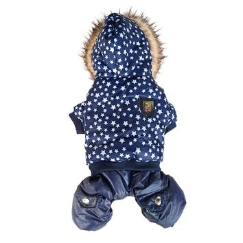 Popular Quality Five Star Pattern Hooded Pet Dogs Winter Coat  Thickness Dogs Clothes S to Xl New Dogs Clothing