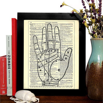 Palm Reading Chart Vintage Book Print, Eco Friendly Home, Bohemian, Gypsy, Dorm, Nursery Decor, Dictionary Book Print Buy 2 Get 1 FREE