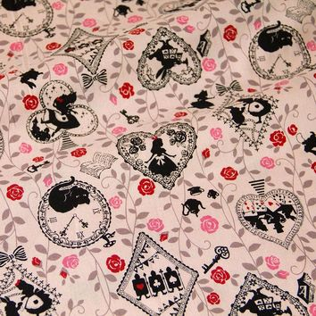 50cm*110cm Japanese Kokka Cotton Fabric Patchwork Quilting Fabric for sewing Vintage Alice in Wonderland   C