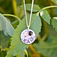 Kappa Alpha Theta Necklace *Petite* Size in Sterling Silver - Sorority Jewelry Greek Letters Sorority Graduation Gift, Big Sis / Lil Sis